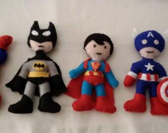 Superheroes in felt-bow birth-garland, baby shower
