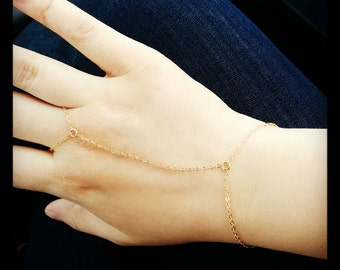 Dainty Gold Hand Chain, Gold Filled, Slave Bracelet, Finger Chain, Everyday Delicate Jewelry, Finger Bracelet, Dainty Body Jewelry