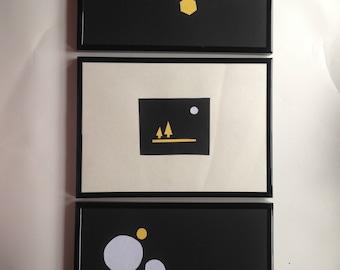 Set of 3 Handmade Framed A4 Paper Art Trees