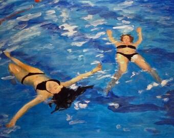 Original oil painting, underwater painting, figures floating, swimming figures, blue oil painting, aquamarine painting