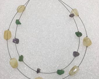 Floating sea glass necklace