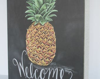 Pineapple Welcome Chalkboard Sign