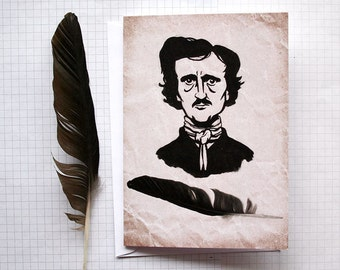 Edgar Allan Poe - Illustrated Card - Art Card - Poet Card