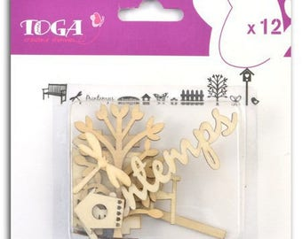 Embellishment made of wood - wood shapes - spring - scrapbooking - 12pcs - TOGA