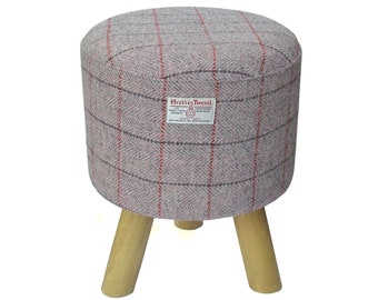 Harris Tweed Wine Red Hand Covered Footstool