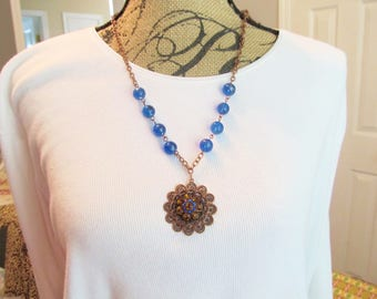 Long copper necklace, blue glass gems, copper necklace, large copper pendant, handmade jewelry, unusual necklace