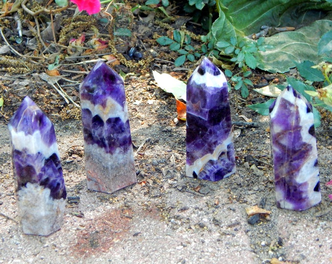 CHEVRON AMETHYST Generator Tower Obelisk - One large Dream Amethyst tower polished natural gemstone - Reiki Wicca Pagan Energy-work Tool