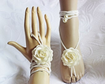Ivory Rose Barefoot Sandals, Wedding party shoes-Bridal Foot jewelry-Wedding Accessory-Bridal shoes-footless sandals