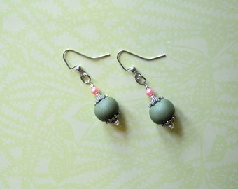 Light Sage Green Polymer and Pink Pearl Earrings