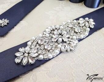 Bridal sash, rhinestones and pearl sash, wedding sash belt, wedding belt, wedding sash, crystal sash, rhinestone sash, sash