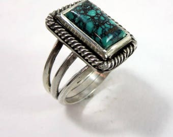 Cloud Mountain Turquoise and Sterling Silver Ring. Rectangle turquoise ring.