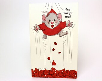 "Vintage 1991 Suzy's Zoo Valentine's Greeting Card ""You caught me! I'm yours!"" - Mouse Hearts - by Suzy Spafford - Printed in U.S.A."