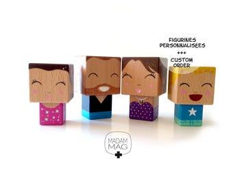 Famille Figurines cubiques en bois personnalisées d'après photo .