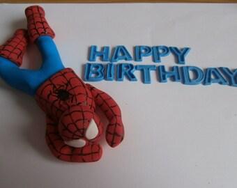 Edible sugar paste Spiderman cake topper, Decoration,boy,birthday,superhero