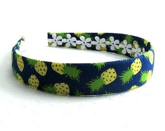 Girls Headband, Adult Headband, Fabric Headband, Fabric Covered Headband, Pineapple Headband, Plastic Headband, Hard Headband