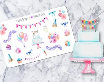 Happy Birthday Deco / Watercolor / Celebration / Tracking / Planner Stickers / Erin Condren / Kikki K / FiloFax / Mambi / Scrapbook