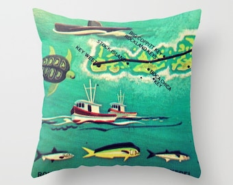 Key West Pillow Cover 18x18, Boca Chica, Key West Gifts, Florida Keys Pillow, Valentine Gifts for Her for him Vintage Illustrated Map Pillow