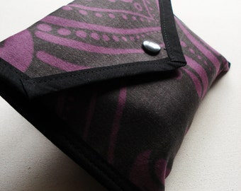 Fold Over Pouch - Purple and Black Damask - Kezbirdie
