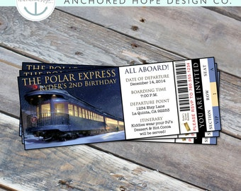 Polar Express Birthday Party - Kids Christmas Party - Invitation - All Aboard - Train Ticket - Move Night -  Digital Printable File