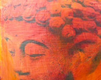 original small affordable art - Peaceful Buddha Orange/Red - one of a kind acrylic painting by Irene Stapleford - wantknot shop