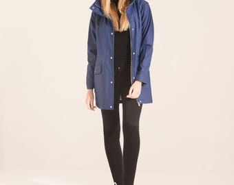 Charcoal Fashion Women's Navy Water Resistant Rubber Rain Coat (02S17)