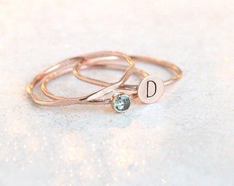SOLID 14k ROSE gold personalized initial stacking ring set. initial ring. stackable rose gold rings. mother's rings. stackable ring set.