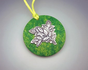 REDUCED! Handmade Silver and Wood Pendant with Adjustable Cord. Springtime Green. Unique
