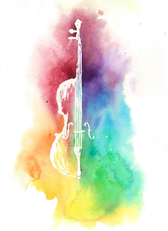 Watercolor Colorful CelloRainbow Painting Instrument Print