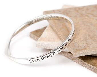 Far Away Thoughts Friendship Message Bangle-Friendship Slogan Bangle- Bangle For a Love & Friendship-Silver plated Bangle