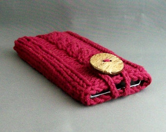 Apple iPhone Samsung Galaxy Mobile Cell Phone Case Burgandy Handknit Cotton Fabric with Coconut Button Handbag Accessory Cover
