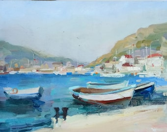 Pier. Balaclava. Crimea  - real oil painting canvas  -Oil painting.Free shipping. size: 12*16 inches