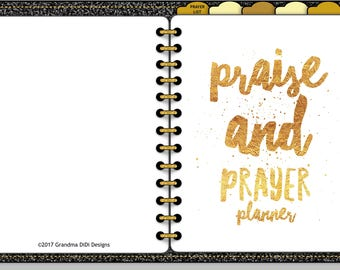 Praise and Prayer Digital Planner for GoodNotes, Blank Tabs,  Black Textured, Undated