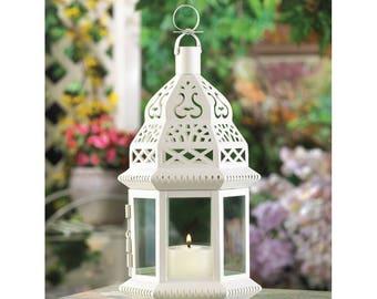 8-White Moroccan Style Lanterns