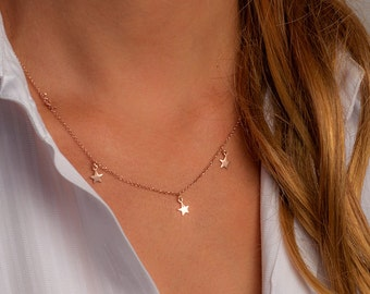 Dainty Necklace with 5 Tiny Gold Plated Sterling Silver Stars  Necklace Delicate Necklace Rose Gold Necklace bridesmaid charm sister gift