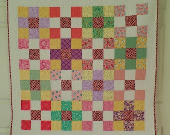 Baby Quilt, Patchwork Quilt, Thirties Quilt, Rainbow Quilt, Baby Bedding, Baby Shower Gift, FREE SHIPPING!