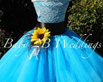 Turquoise Dress Sunflower Dress Flower Girl Dress Teal Dress Hi Lo Dress Tulle Dress Birthday Dress Toddler Tutu Dress Blue Girls Dress