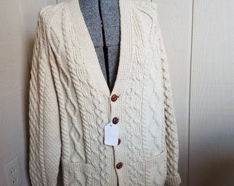 Vintage Wool Cableknit Fisherman's Sweater from Ireland
