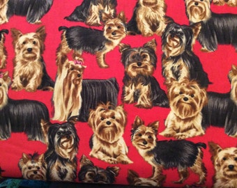 Timeless Treasure dog, Yorkshire Terrier Yorkie fabric on red by the half yard
