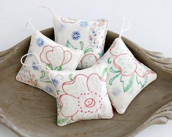 Tiny Lavender Sachets, Vintage Embroidered Linen, Set of Four Closet Sachets, Hostess Gift