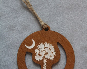 South Carolina Palmetto Tree with Crescent Moon Wooden Ornaments