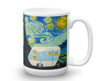 Starry, Starry Night Vintage Trailer Wrap Around Mug 15oz