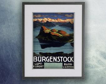 Vintage Travel Poster, Bürgenstock, Switzerland Print