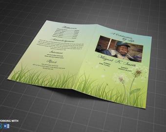 Funeral Program Template - Printable Funeral Program Template - MS Word and Photoshop Template - INSTANT DOWNLOAD