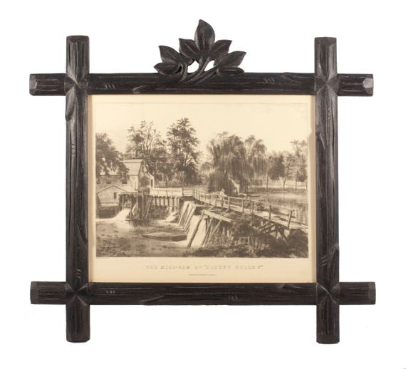 Hand-Carved Black Forest Frame with Vintage Currier & Ives The Mill-Dam at Sleepy Hollow Print