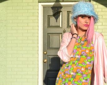 90s groovy mod flower power club kid multi color psychedelic tunic mini dress shirt tank