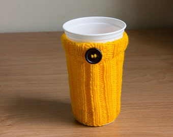 Mug Cozy with Button hand knitted, Travel Mug Cozy, mug sweater, Coffee Cup Sleeve, gift for her, gift for him, hand knitted cosy