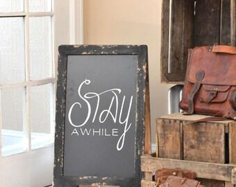 Double Sided A Frame Chalkboard, Sandwich Chalkboard, Stay Awhile, Chalkboard Easel