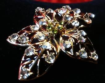 Red Poinsettia Brooch with Clear Crystals
