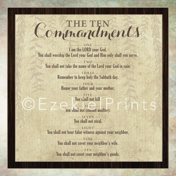 10 Commandments Wall Art Printable Religious Instant
