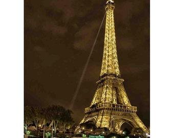 Paris Eiffel tower at night Photography, Photograph of Eiffel from Seine River, Wall Art, Paris lights, Boat, Beacon - Eiffel on the Seine